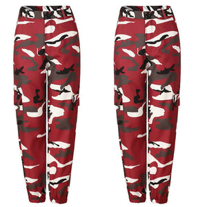 Orange Camouflage Pants Women Sweatpants Purple Pink Camo Pants Pantalon Femme Trousers Cargo Harem Pantalones Mujer-geekbuyig