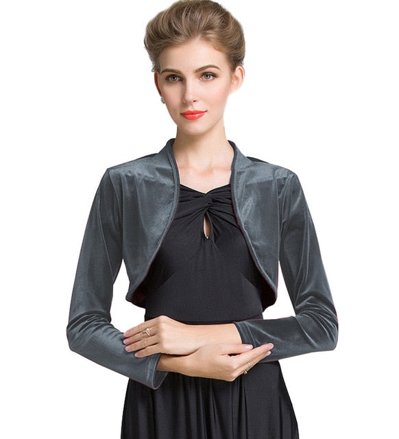 Ladies Cropped Velvet Long Sleeve Shrug Womens Bolero Jacket Cardigan Outwear Top Plus Sizes available Free Shipping-geekbuyig