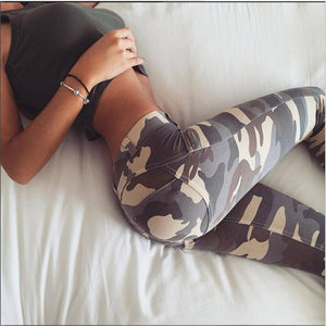 WKOUD Women Camouflage Leggings Fashion High Waist Fitness 2018 Skinny Push Up Pants Lift The Hips Absorption Legging P8577-geekbuyig