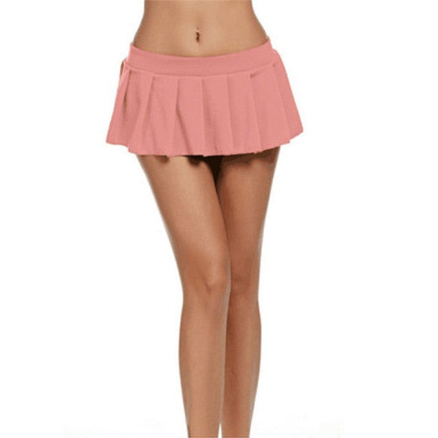 Sexy Short Mini Skirt Women Micro Mini Skirt Dance Clubwear Metallic Pleated Skirt 5 Colors-geekbuyig