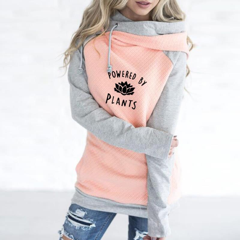 2018 New Fashion Vegan Powered By Plants Print Sweatshirts Femmes Hoodies Women Kawaii Printing Youth Casual and For Buckle-geekbuyig
