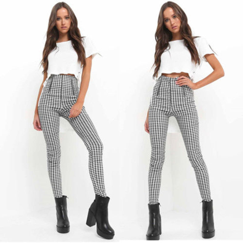 2018 Black White Zip-up Plaid Sexy Pants Sweatpants Women Side Stripe Trousers Sexy High Waist Penicl Pants-geekbuyig