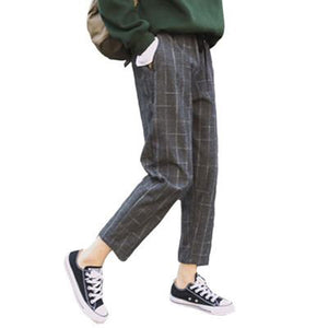 Elegant Style Plaid Pants For Women Autumn Casual Loose Elastic Waist Slim Trousers Harajuku Female Ankle-Length Harem Pants-geekbuyig