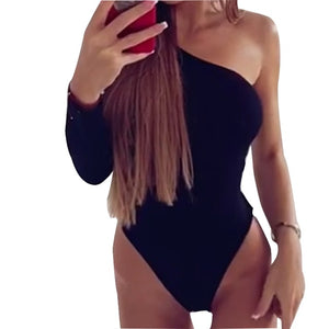 Female One Shoulder Slope Neckline Bodysuits Women Club Leopard Body Tops New Single Long Sleeve Bodycon Overall Swimsuits M0251-geekbuyig