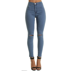 JRNNORV Black Colors High Waist Skinny Fashion Boyfriend Jeans for Women Hole Vintage Girls Slim Ripped Denim Pencil Pants 0146-geekbuyig