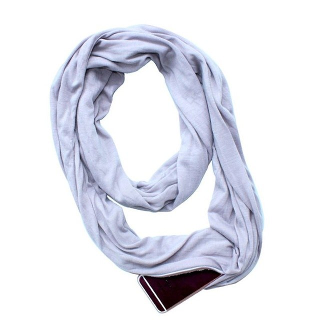 Womens 135-175cm 4 Colors Stretchy Infinity Loop Scarf With Secret Hidden Zipper Pocket Polyester Winter Warm Shawl W77-geekbuyig