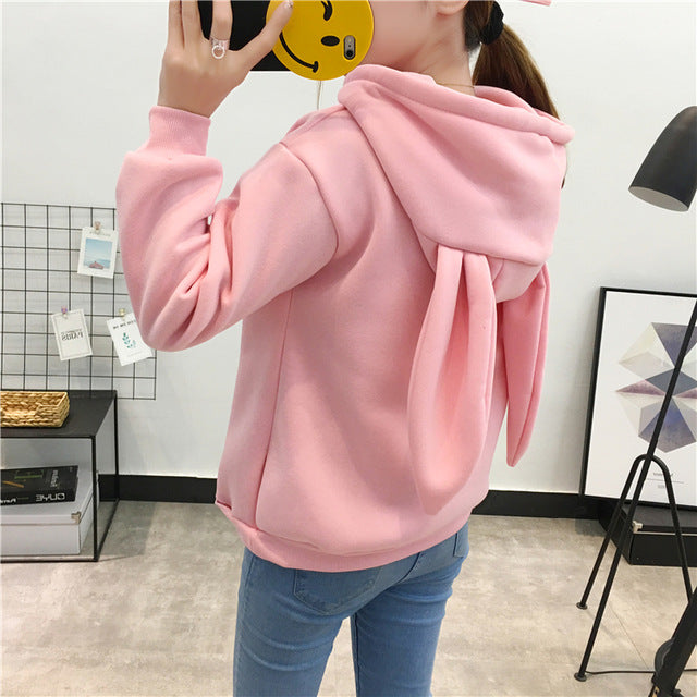Autumn Winter Cute Rabbit Ear Hoodies Women Sweet Lovely Cartoon Embroidery Girls Sweatshirt Plus Velvet Thick Pullover Hoodies-geekbuyig