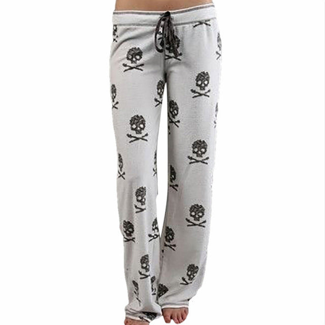 2018 Cool Women Girls Casual Low Waist Printing Wide Leg Long Trousers Skull Printed Pajama Pants At Home-geekbuyig