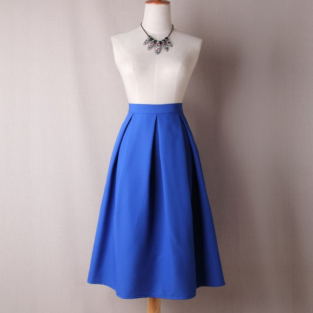 Women High Waist Pleated Skirts Summer Autumn Vintage Knee Length Office Workwear Solid Ball Gown Party Skirt Plus Size-geekbuyig