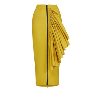 Clocolor Fashion Pencil Skirt Women Sexy Bodycon Zipper Ruffle Skirts Female Eelagnt OL Maxi High Waist Plus Size Long Skirt-geekbuyig