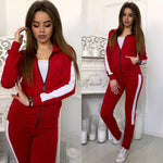 2018 Autumn Two Piece Set Tracksuit For Women Zipper Hooddies Top And Pants Set Women Casual Sweat suits Outfits WS9166V-geekbuyig