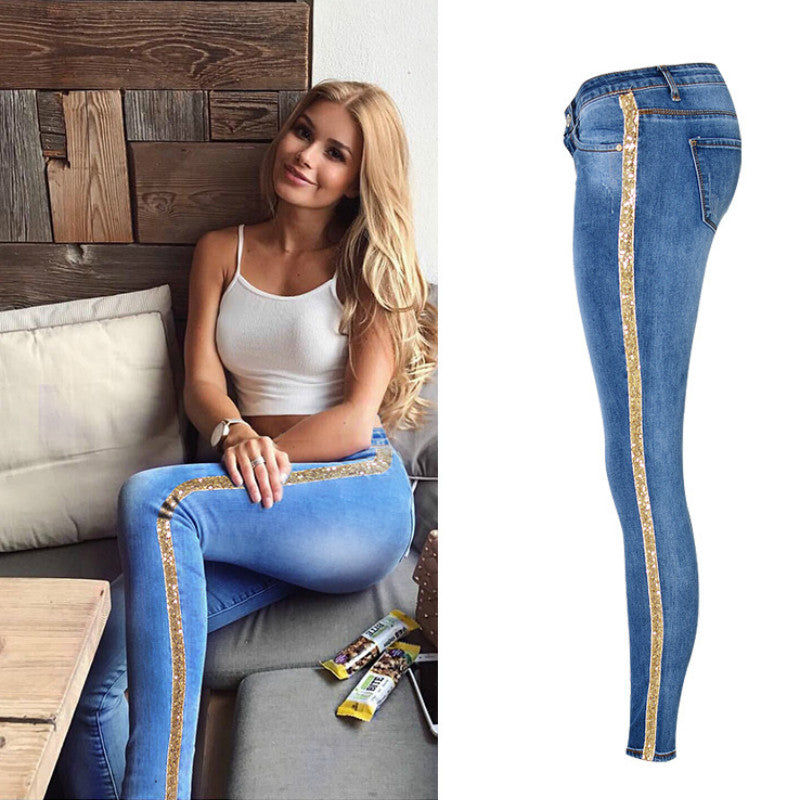 Low Waist Fashion Side Stripe Skinny Jeans Women Slim Embroidered Gold Sequin Vaqueros Mujer High Street Push Up Calca Denim-geekbuyig