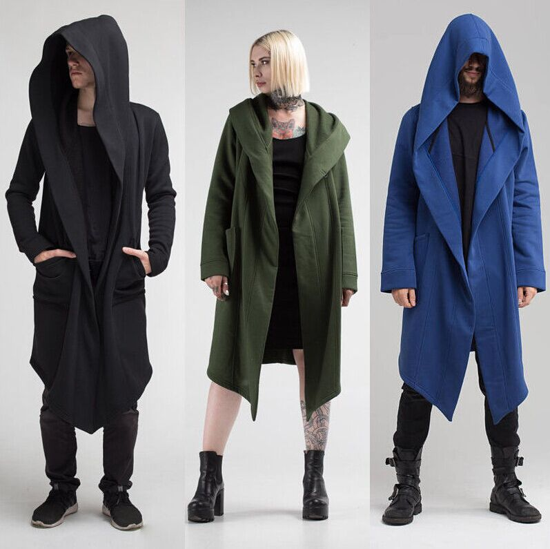 Men's Hooded Jacket Long Cardigan Ninja Goth Gothic Hoodie Sweatshirt Punk 2018-geekbuyig