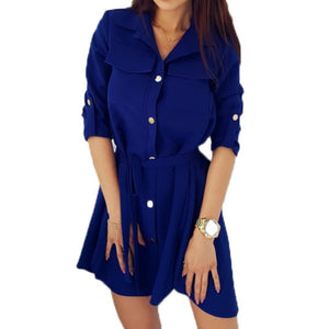 Fashion Shirts Dress Solid Turn-down Collar Spring Autumn Dresses XXL Buttons Loose Women Dresses Casual Office Dress GV118-geekbuyig