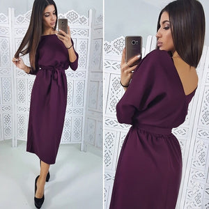Women Vintage Sashes Straight Backless Dress Ladies Seven Sleeve O Neck Knee Dress 2018 Winter Office Lady Elegant Women Dress-geekbuyig