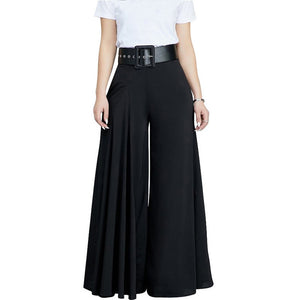 Women Casual Loose Pleated Wide Leg Pants Palazzo Pants Autumn Hight Waist Elegant Pantalon Office Ladies Trousers with Pockets-geekbuyig