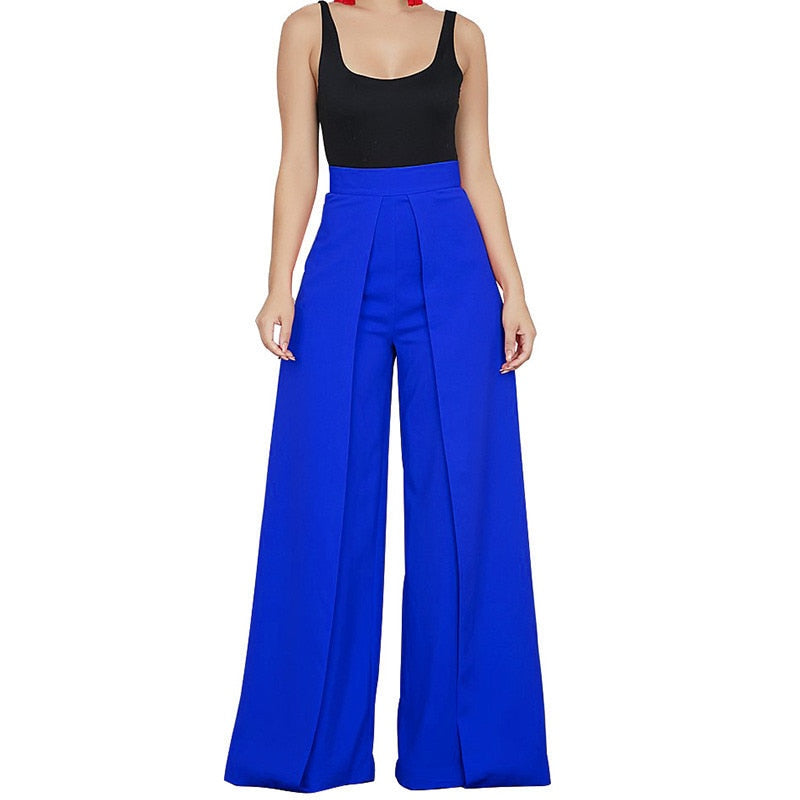 Chic High Waist Zipper Palazzo Pants for Women Casual Loose Wide Leg Pants Ladies Elegant Long Culottes Trousers Pantalon Femme-geekbuyig