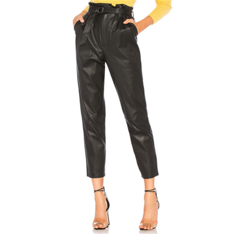 2018 Autumn Black Women PU Leather Pants With Belt Capris Pants Trousers Women High Waist Stretch Pencil Pants Ankle Length Pant-geekbuyig