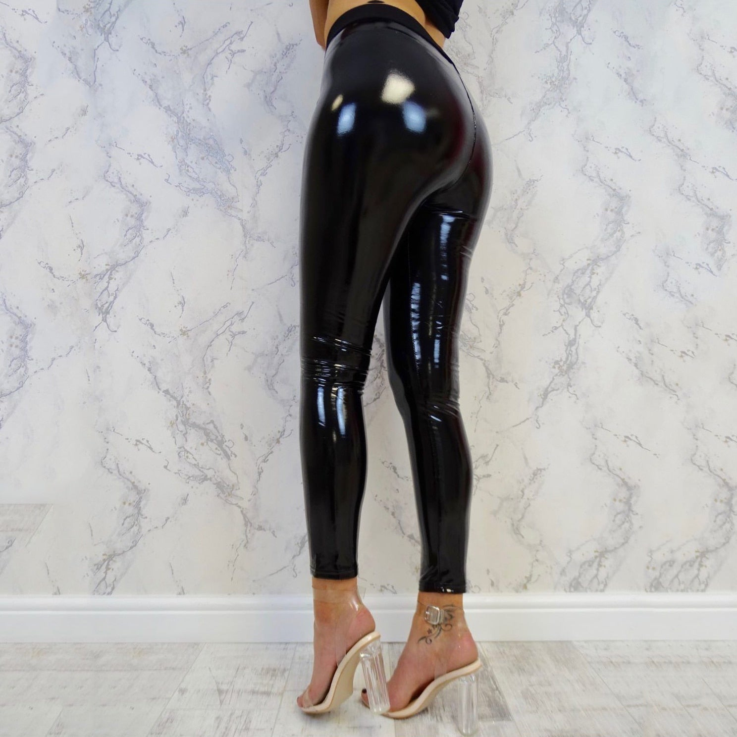 Womens Sexy Leather Pu Pants elegant Ladies Soft Stretch Shiny Wet Look Vinyl bandage Trouser Evening party club pantalon femme