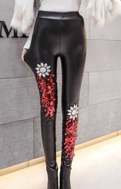 Women Warm Velvet PU Leather Pants Winter Female Sexy Elastic Stretch Skinny Faux Leather Velvet Pant Pencil Pant Women Trousers