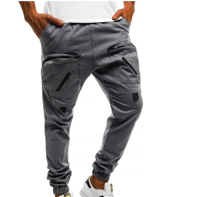 Mens New Cuffed Slim Chinos Jogger Skinny Pants Gym Pants Zipper Pockets Safari Style Cargo Long Trousers M-3XL-geekbuyig
