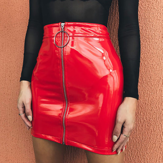 2019 Women PU Leather Mini Skirt High Waist Plain Flared Skirt Short Sexy Zipper Siderosphere Party Evening Fashion Ladies Femme-geekbuyig