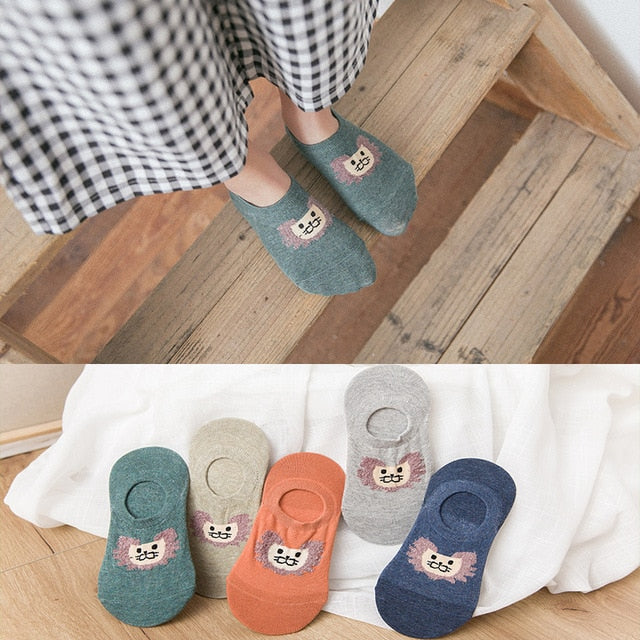 10 pieces = 5 pairs ladies spring summer socks cotton cartoon animals 3-D ears stealth women slipper socks, nice girl socks-geekbuyig