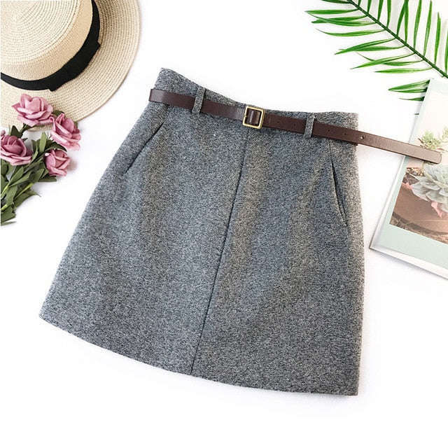 Wasteheart Women Fashion Gray Black Ployester Skirts High Waist Plus Size Big Size pencil Casual Slim Mini Skirt Sashes Empire-geekbuyig