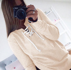 2018 New Women Bandage Top Hoodies Sweatshirt Casual Long Sleeve Solid Lace Up Tops Plus Size Hollow Out Autumn Spring Shirts-geekbuyig