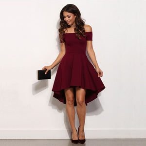 Vintage 2018 Women Sexy Slash neck Solid color Party dress Autumn New Fashion A-Line black Red wine Knee-Length dresses-geekbuyig