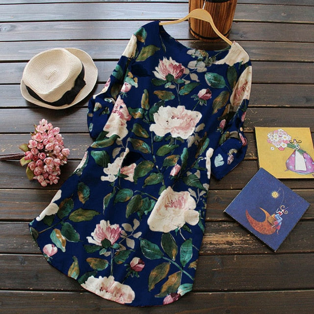 S-5XL Plus Bohemian Floral Women Dress Loose Beach Long Maxi Dresses Large Size Full Sleeve Female Dress Comfy Cotton and Linen-geekbuyig