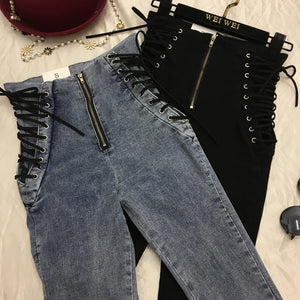 Women Fashion New Jeans Ankle-length Pants Europe Hot Sale Lace-Up Bowknot Slim Pencil Pants Stylish Panter Female-geekbuyig