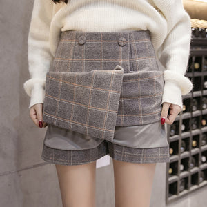 2018 Autumn Winter Plaid Wool Skirt Women's Short Skirt Mini A-line Harajuku Woolen Skirts Vintage Office Ladies Jupe Femme Saia-geekbuyig