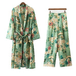 2 piece set women Suit female Fashion Holiday Style Casual Flower Pattern Print Kimono Loose Pajama Jacket + Trousers suit-geekbuyig