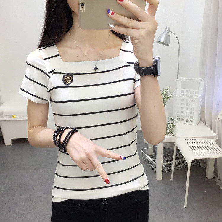 Tee 2018 Summer Round Neck Short Sleeve Top Women White Asymmetrical T Shirt M1-geekbuyig