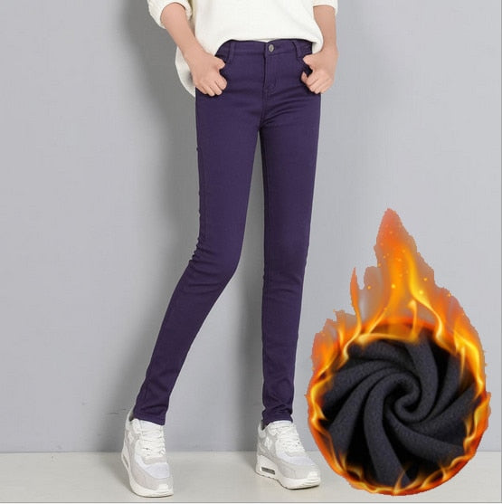 2018 New Women's Warm Skinny Jeans Plus Size Candy Color Thick Velvet Winter Jeans Warm Women Stretch Jeans Denim Pencil Pants-geekbuyig