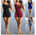 Women Playsuit Summer Sexy Sleeveless Shorts Beach Jumpsuit Casual Loose 6XL Solid Rompers Nightclub-geekbuyig