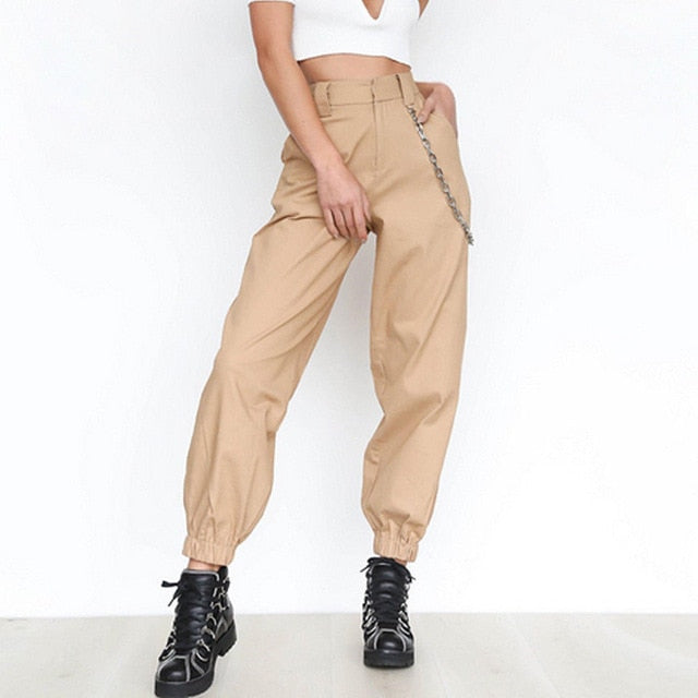 Women's High Waist Casual Elastic Long Trousers Baggy Casual Loose Solid Cool Streetwear Cargo Pants Autumn-geekbuyig