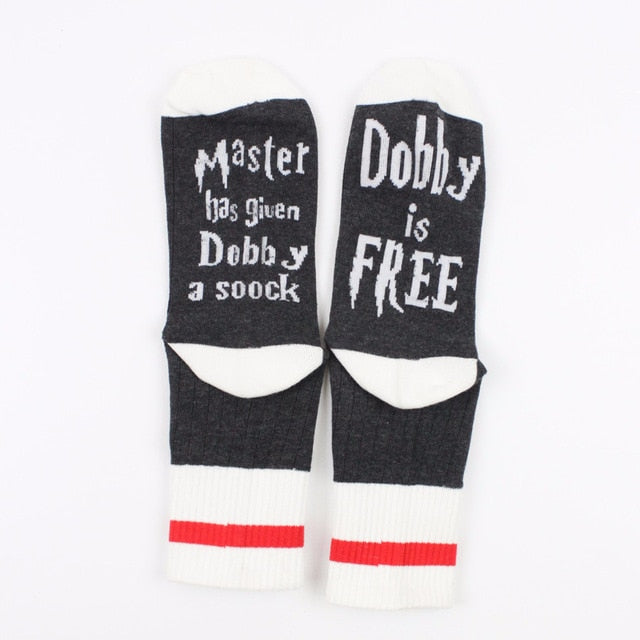 1 Pair Master Has Given Dobby a Socks Summer Spring Style of Women Funny Unisex for Cotton Casual Cotton Letters Socks Man Meias-geekbuyig