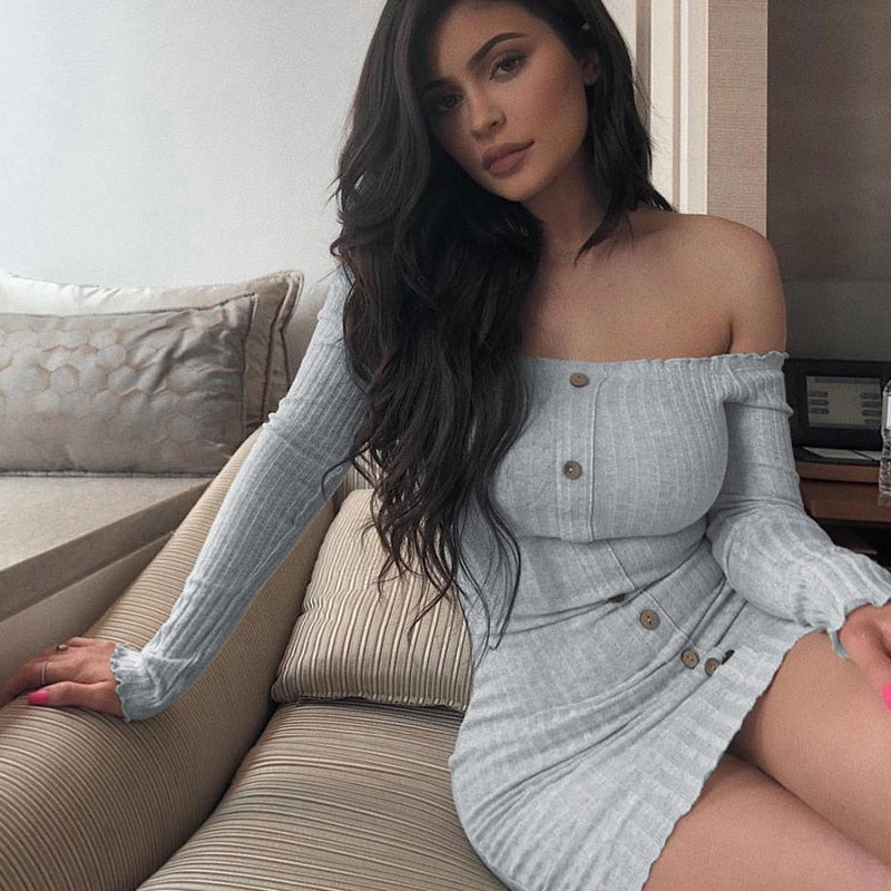 2018 Winter Women Knitted Dresses Autumn Sexy Bodycon Off Shoulder Long Sleeve Party Club Mini Dress For Women Female Vestido-geekbuyig