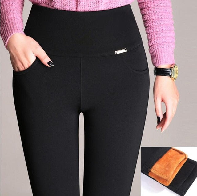 2017 Winter High waist women warm velvet office work slim pencil pants plus size ladies formal trousers pantalon femme 5XL 6XL-geekbuyig