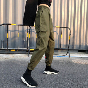 Female High Waist Harem Pants 2018 Women Loose Joggers Trousers Hip Hop Pant Streetwear Harajuku Khaki Green Cargo Pants-geekbuyig