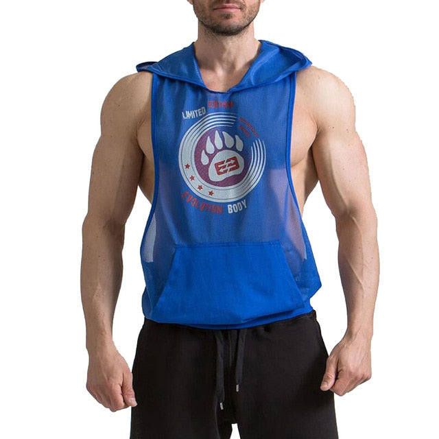 2 Colors Summer Breathable Leisure Fittness Hoodies Tank Top Mens Sexy Mesh Bodybuilding Stringer Sleeveless Muscle Shirt Vest-geekbuyig