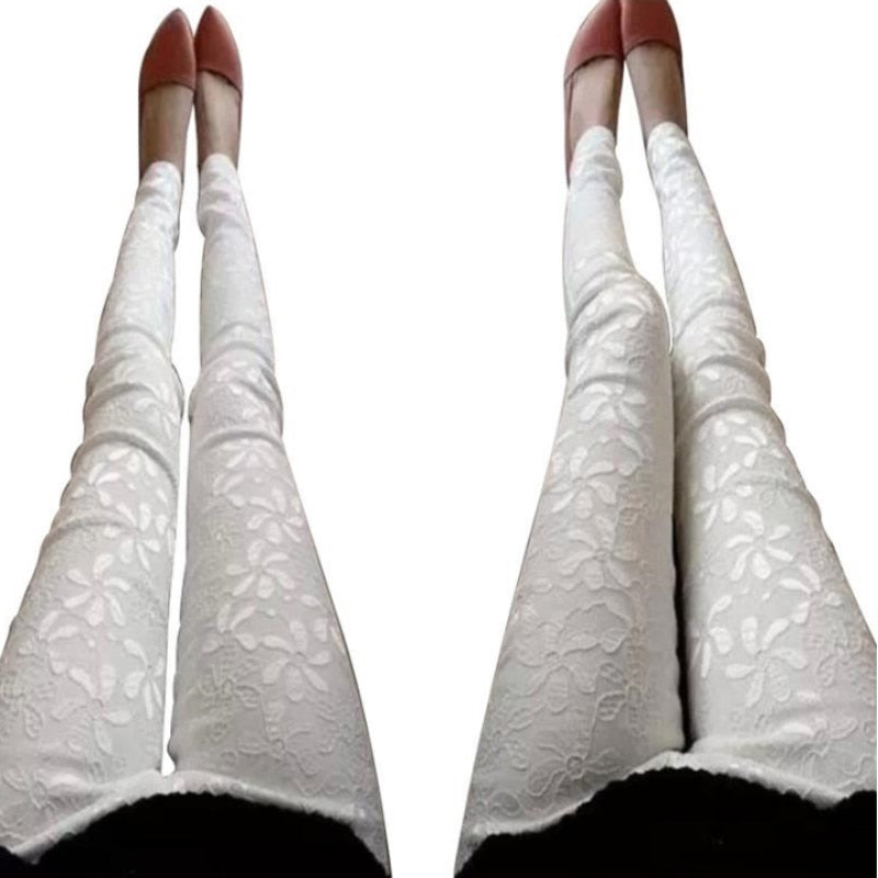 Plus Size 2018 Summer Casual Women's Leggins Solid Stretch Pencil Feet Lace Flower Print Legging Women Workout Leggings-geekbuyig