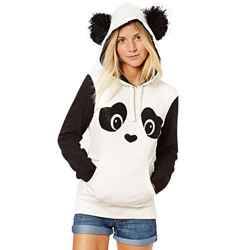 Kawaii Lovely Panda Hoodies Women Spring Autumn Hooded Sweatshirt High Quality Casual Fleece Pullover Jumper Tops sudadera mujer-geekbuyig