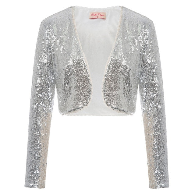 BP Women's clothing Shining Sequined tops Long Sleeve Waved neckline Cropped Length Open Front Bolero Shrug for wedding party-geekbuyig