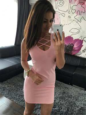 2018 Summer Sexy Slim Women Dress Solid Color U-Neck Cross-Belt Dress Sleeveless Plus Size Package Hip Dress-geekbuyig