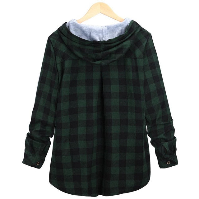2018 Fashion Women's winter Sweatshirt Long Sleeve Plaid Hooded coat Blouse casual New Autumn warm 8.29-geekbuyig