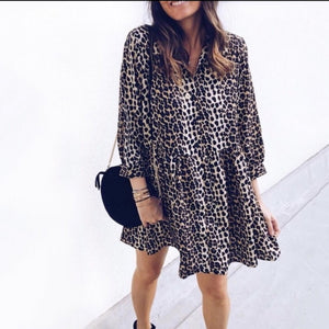Fashion Women Leopard Dress Loose Mini Ladies Dresses Sexy Femme Summer Autumn Full Sleeve Printing Nightclub Partywear Clothes-geekbuyig