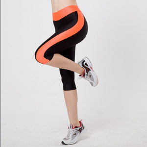 5XL Women Sexy Side Pocket Striped Leggings Fitness Capri Pants Reflective Leggins Slim Workout Quick-dry Trousers-geekbuyig